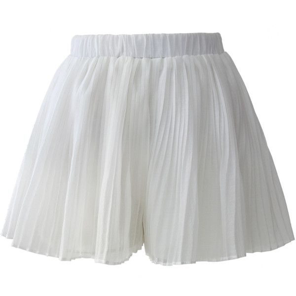 Chicwish Full Pleated Crepe Shorts in White (640 MXN) ❤ liked on Polyvore featuring shorts, bottoms, skirts, white, white shorts, elastic waist shorts, pleated shorts, micro shorts and mini shorts