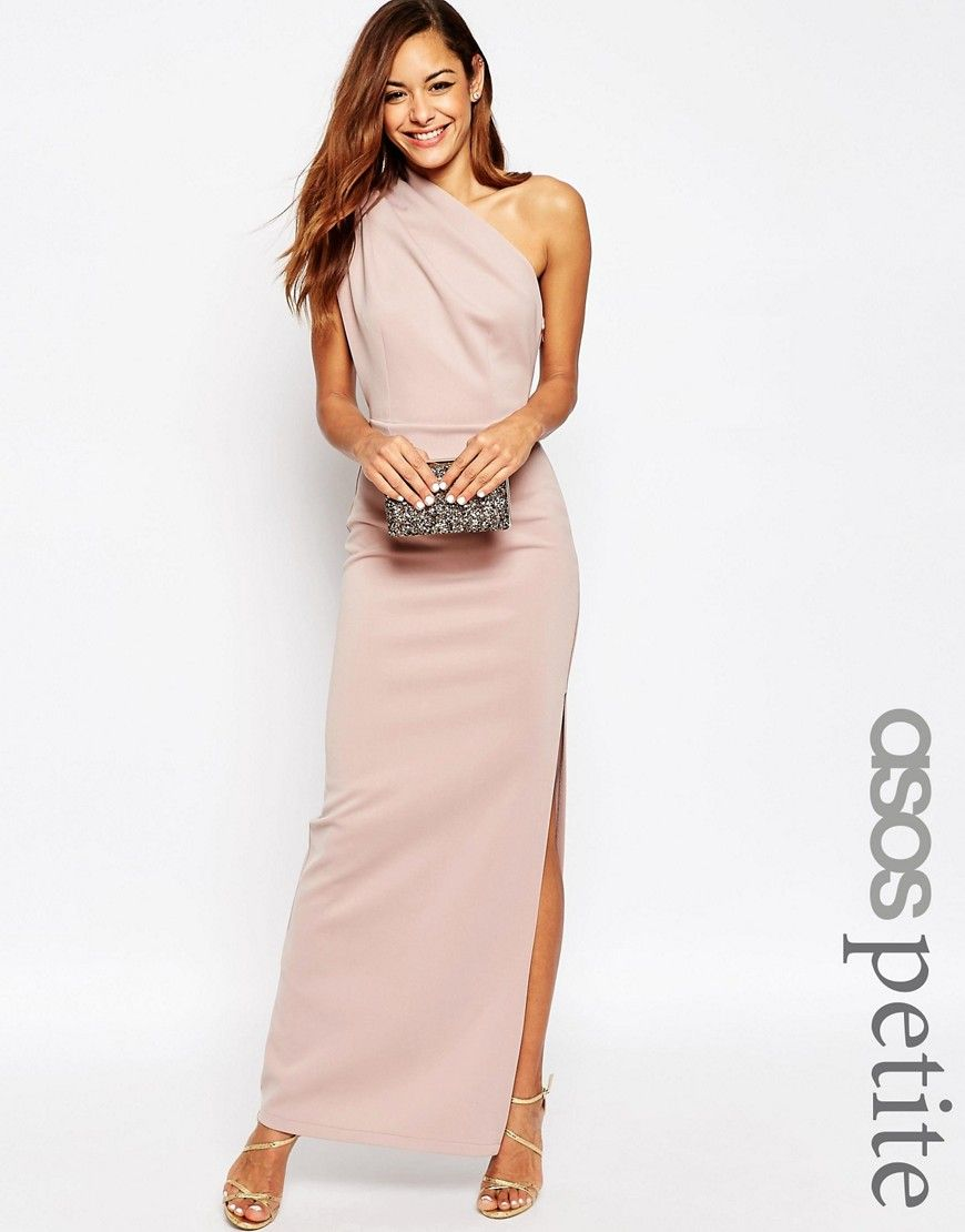 85803c7ec54 Image 1 of ASOS PETITE One Shoulder Maxi Dress With Exposed Zip