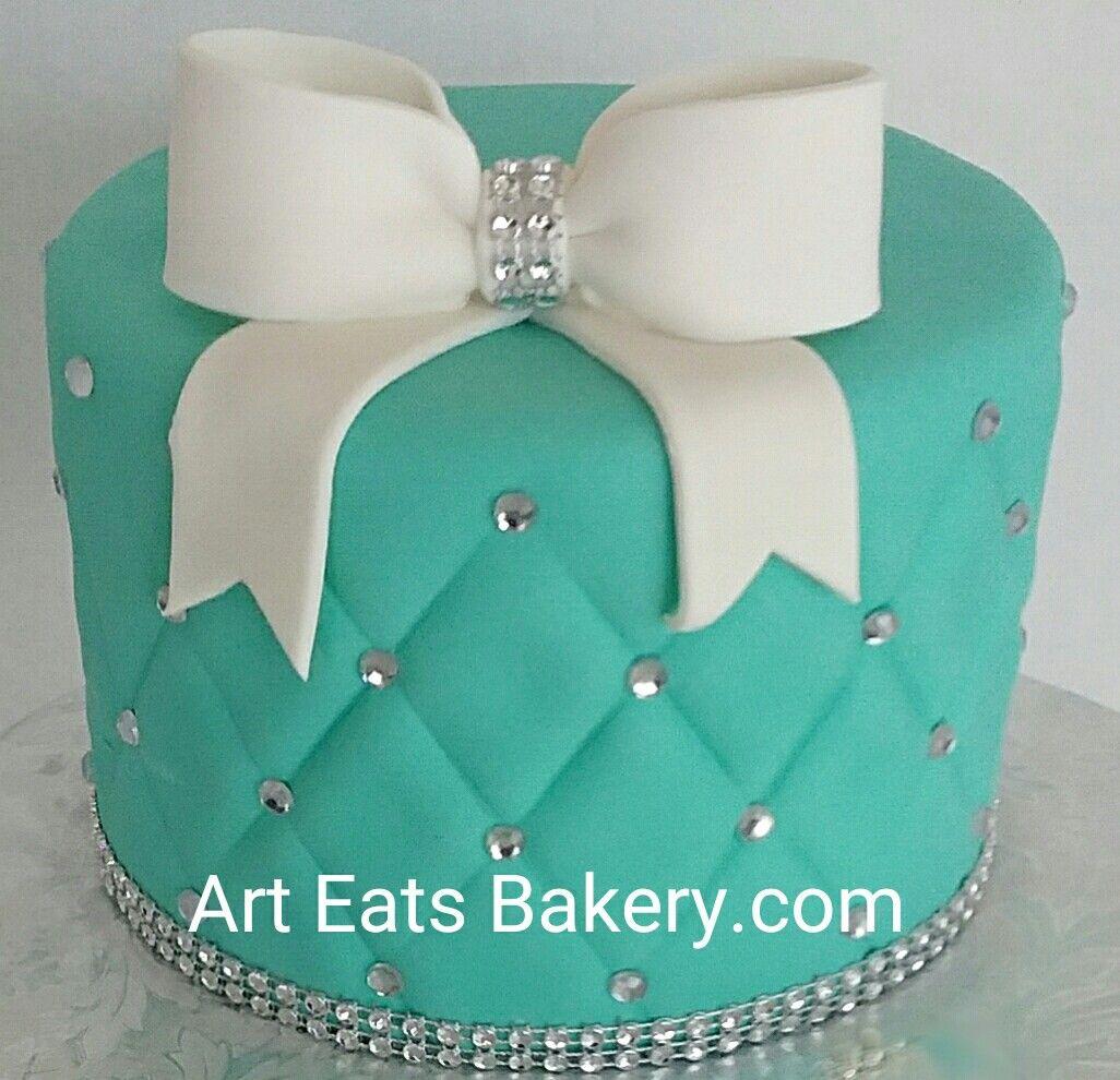 Teal quilted fondant custom modern girl\u0027s 13th birthday cake