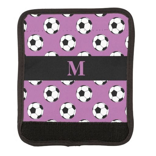 Monogram Black/White Soccer Football Balls on Radiant Orchid Luggage Wrap  by M to the Fifth Power #mtothefifthpower