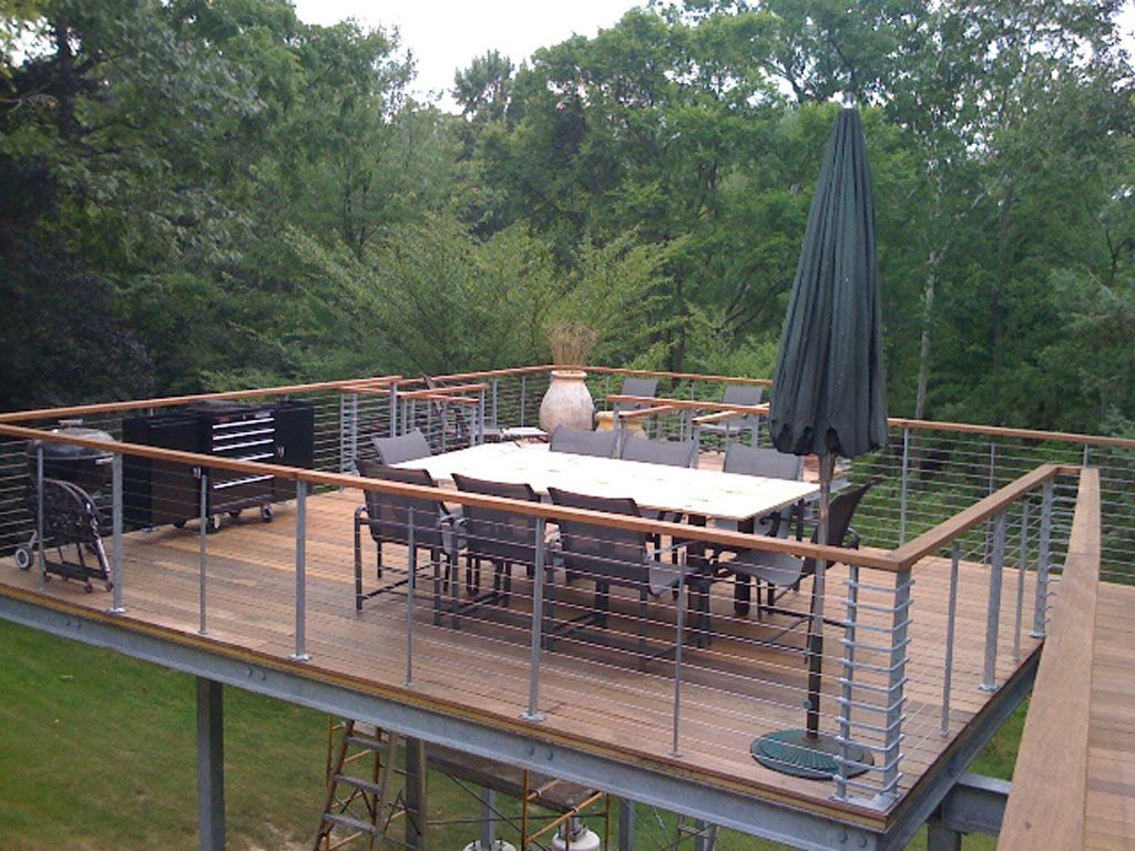 Raised deck tokyo style cable railings images outdoor for Sundecks designs
