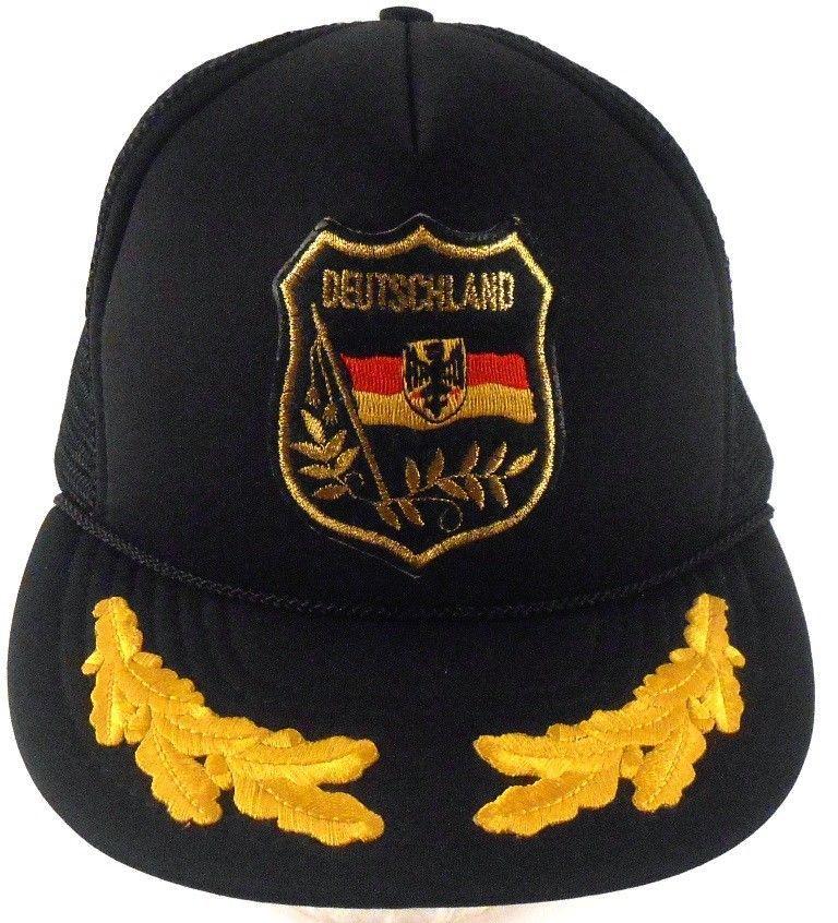 48640558dbc Deutschland Germany Coat of Arms Eagle Gold Leaf VTG Mesh Trucker Snapback  Hat