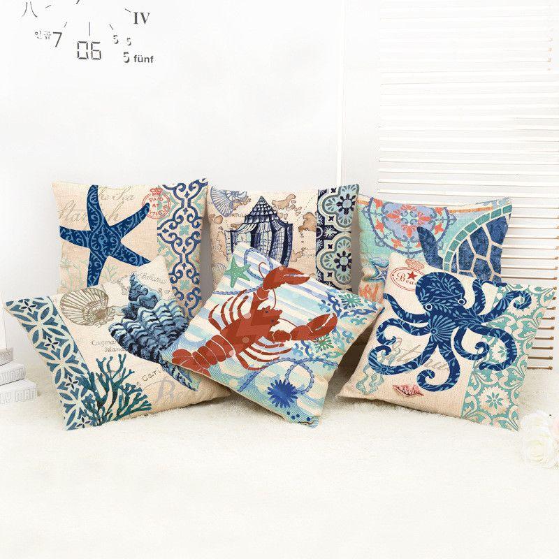 Blauw Marine stijl HNA octopus schildpad sailor Katoen Linnen Kussenhoes Sofa Decoratieve Sierkussen Auto Stoel Kussensloop