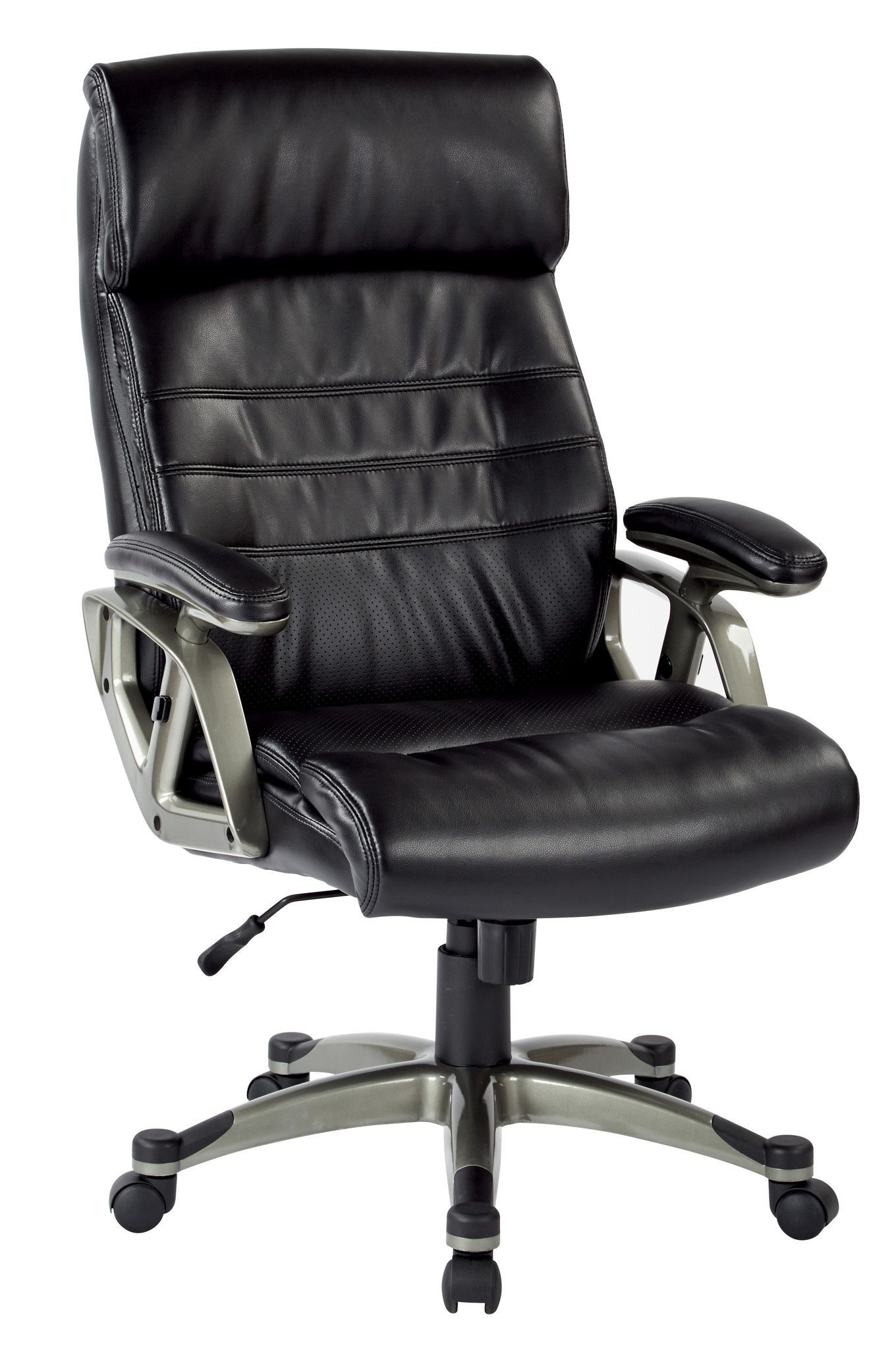 Work Smart Executive Black Bonded Leather Chair With Adjule Padded Arms And Coated The