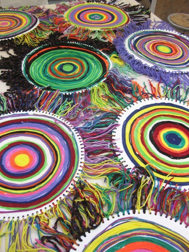 yarn painting...turn into flag idea...connect yarn at 3 ...
