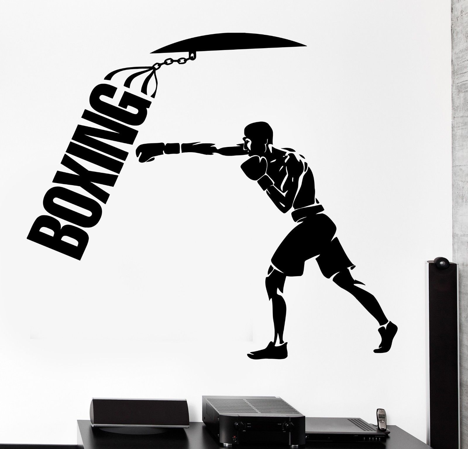 Wall Sticker Sport Boxing Punching Bag Martial Arts Vinyl Decal