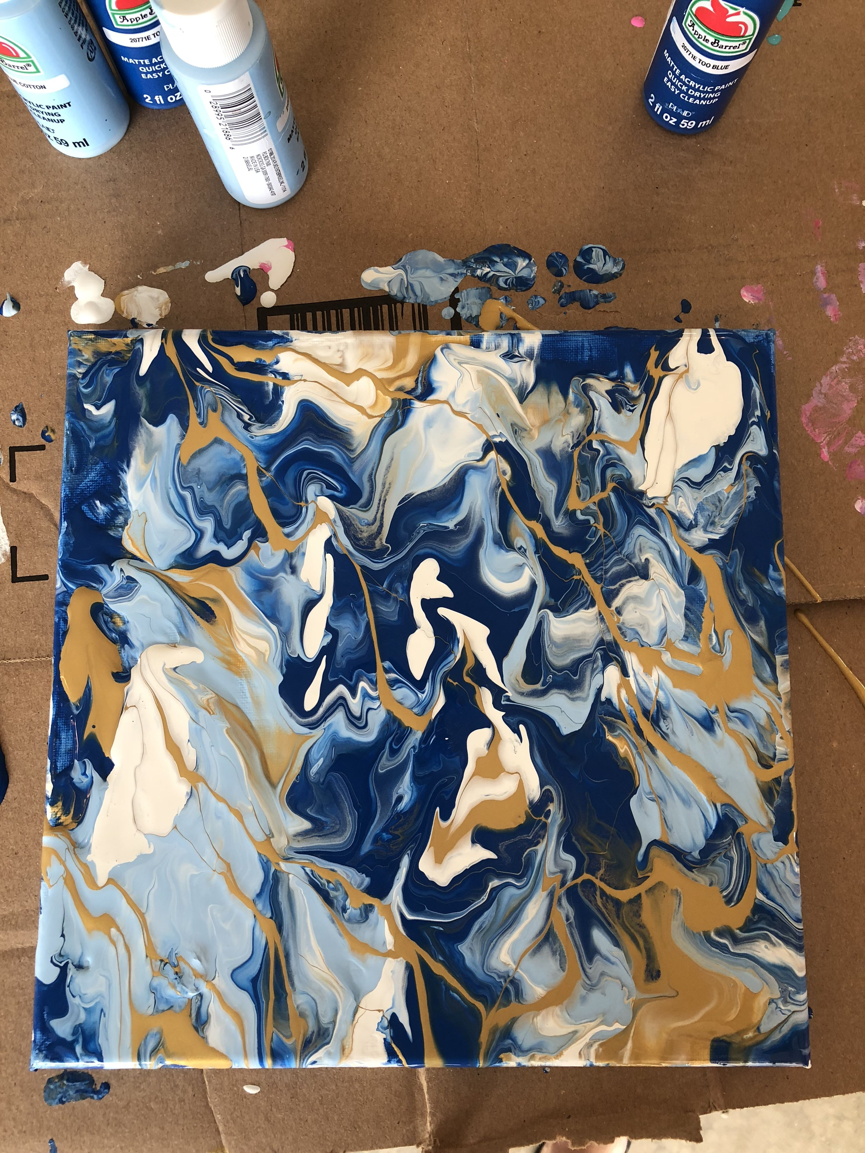 Blue White Gold Marble Canvas Painting Canvas Painting Diy Diy Canvas Abstract Painting Diy