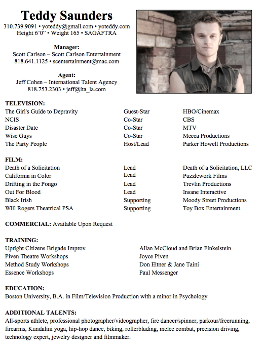 stand in actor resume sample
