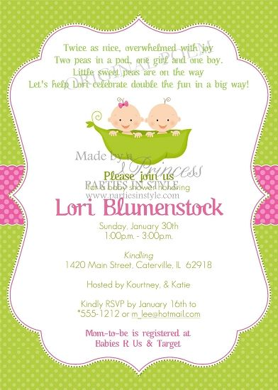 Peas In A Pod Twin Boy And Girl Printable Baby Shower Invitation