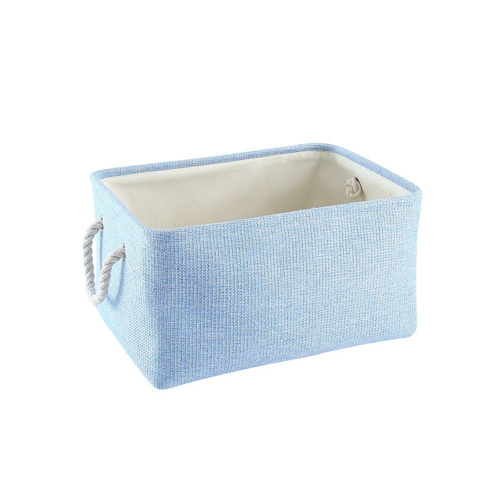 TheWarmHome Blue Woven Baskets Rectangular Lined Baskets Storage ...