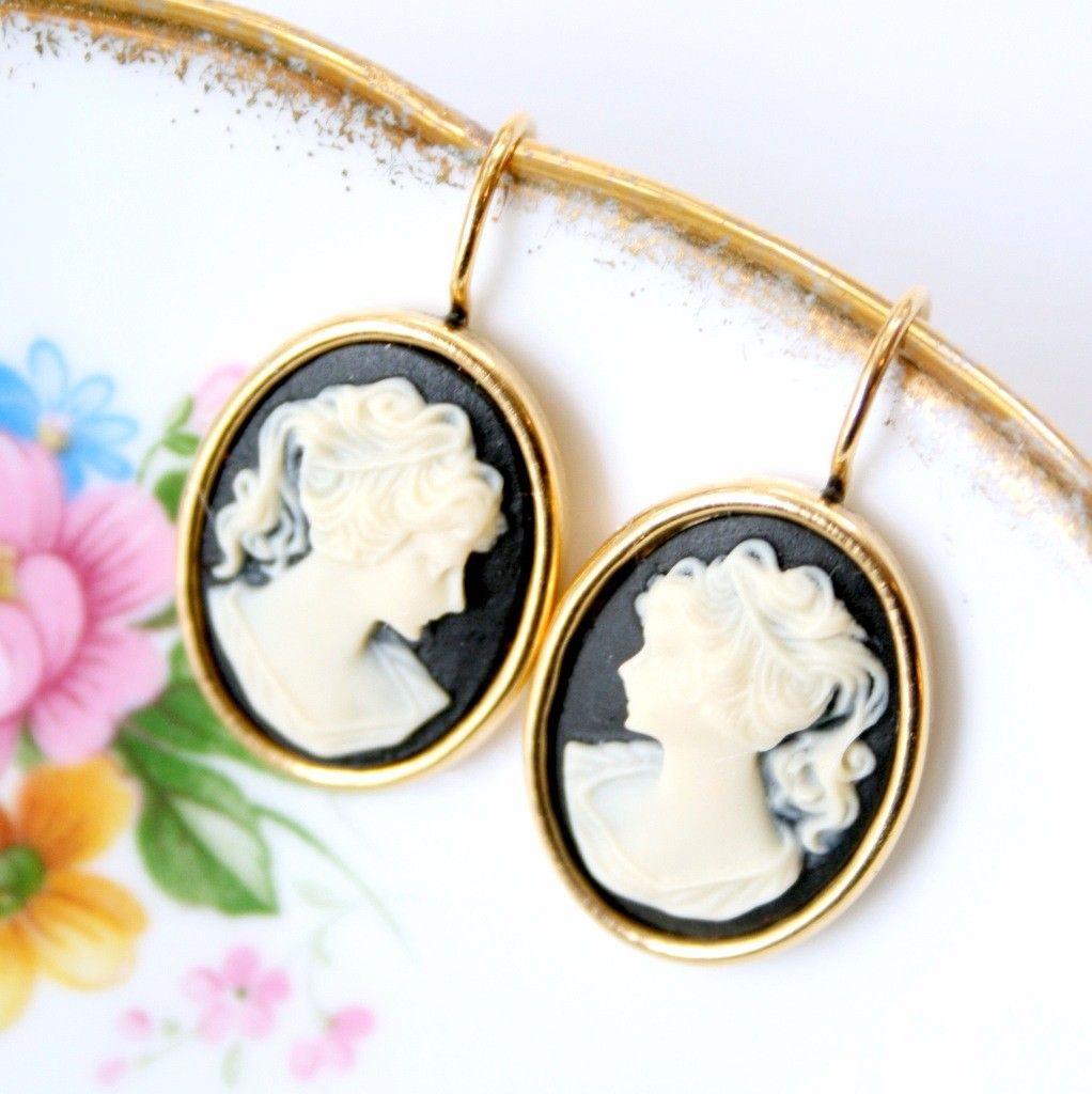 Black cameo earrings via etsy my style pinterest