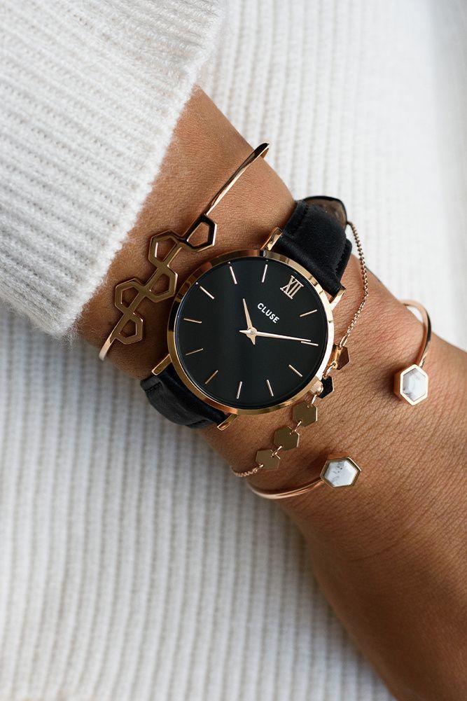 b913e091e4f6 CLUSE Minuit Watch Rose Gold Black Black