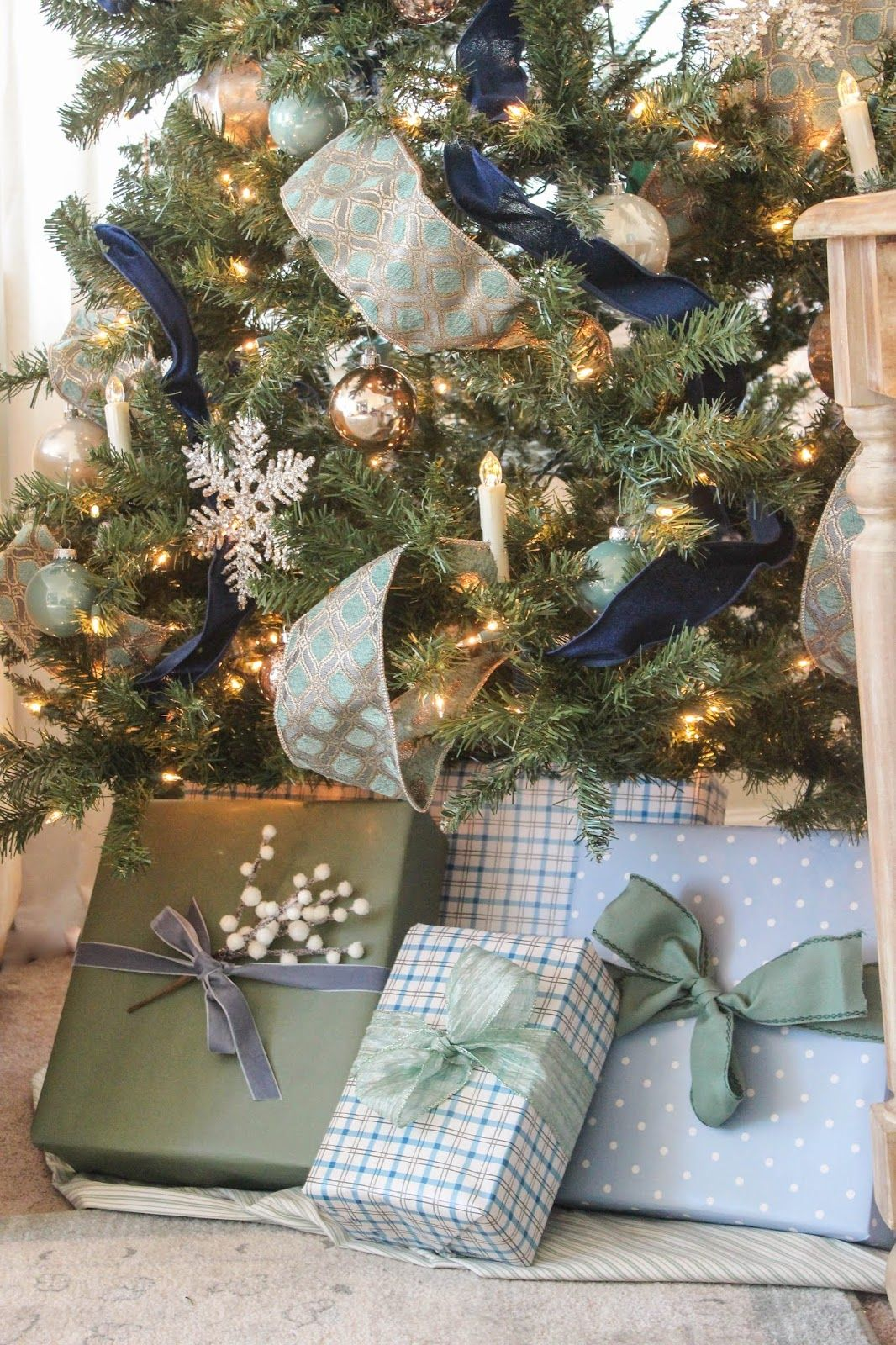 Blue And Sage Green Christmas Tree Blue Christmas Tree Green Christmas Tree Blue Christmas Decor