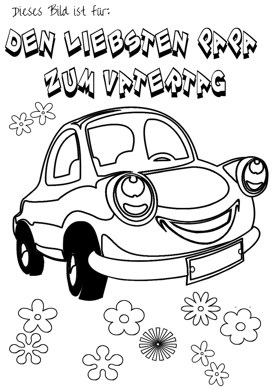 Kostenloses Vatertag Malbild Motiv Auto zum ausmalen auf babyduda ...