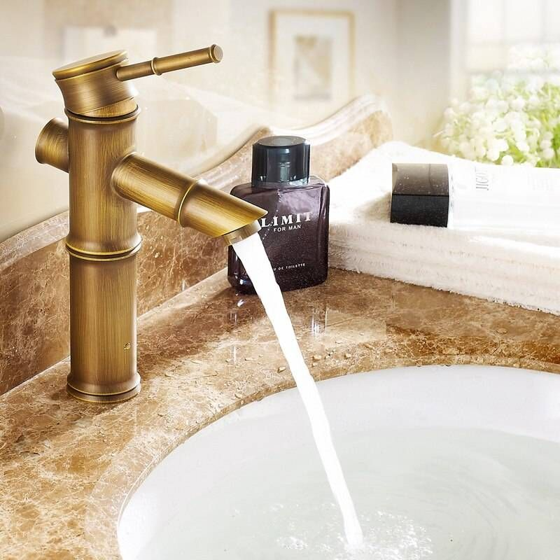 """Photo of 9 """"Antique Brass Faucet Bamboo Taps Crane Sink Sink Vanity 9033A"""