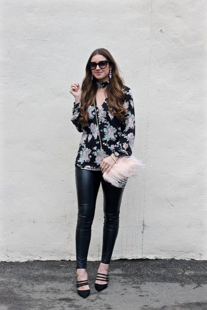 Black Floral Choker Blouse, Fuzzy Blush Purse