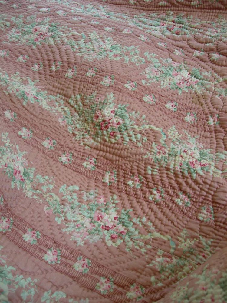 Stunning Antique Edwardian Hand Stitched Durham Quilt Cabbage Roses Whole Cloth Quilts French Quilt Shabby Chic Quilts