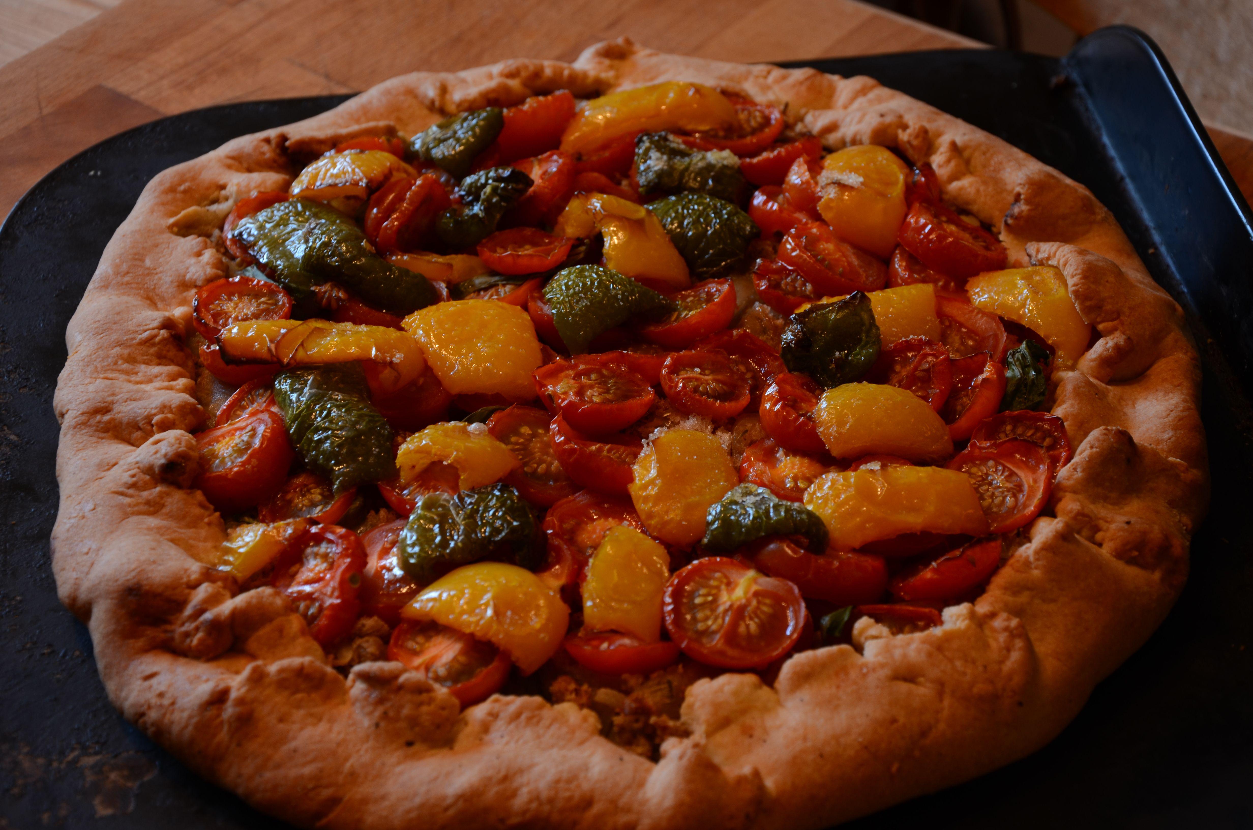 Rustic cherry tomato tart.