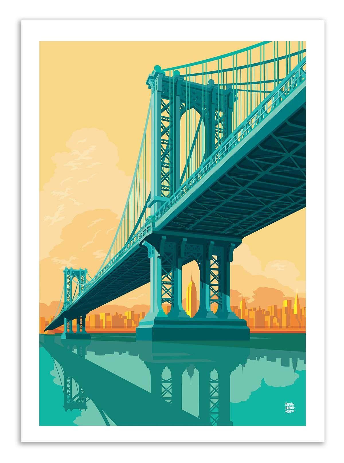 Art-Poster - Manhattan Bridge - Remko Heemskerk | Bridges ...