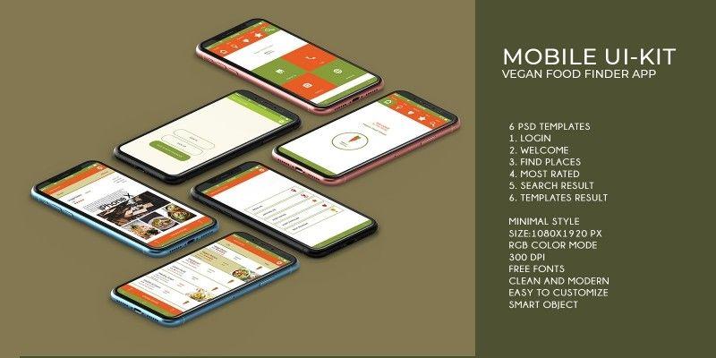 Mobile Vegan Food Finder App 6 Psd Templates By Graphicques Psd Templates Templates App Template