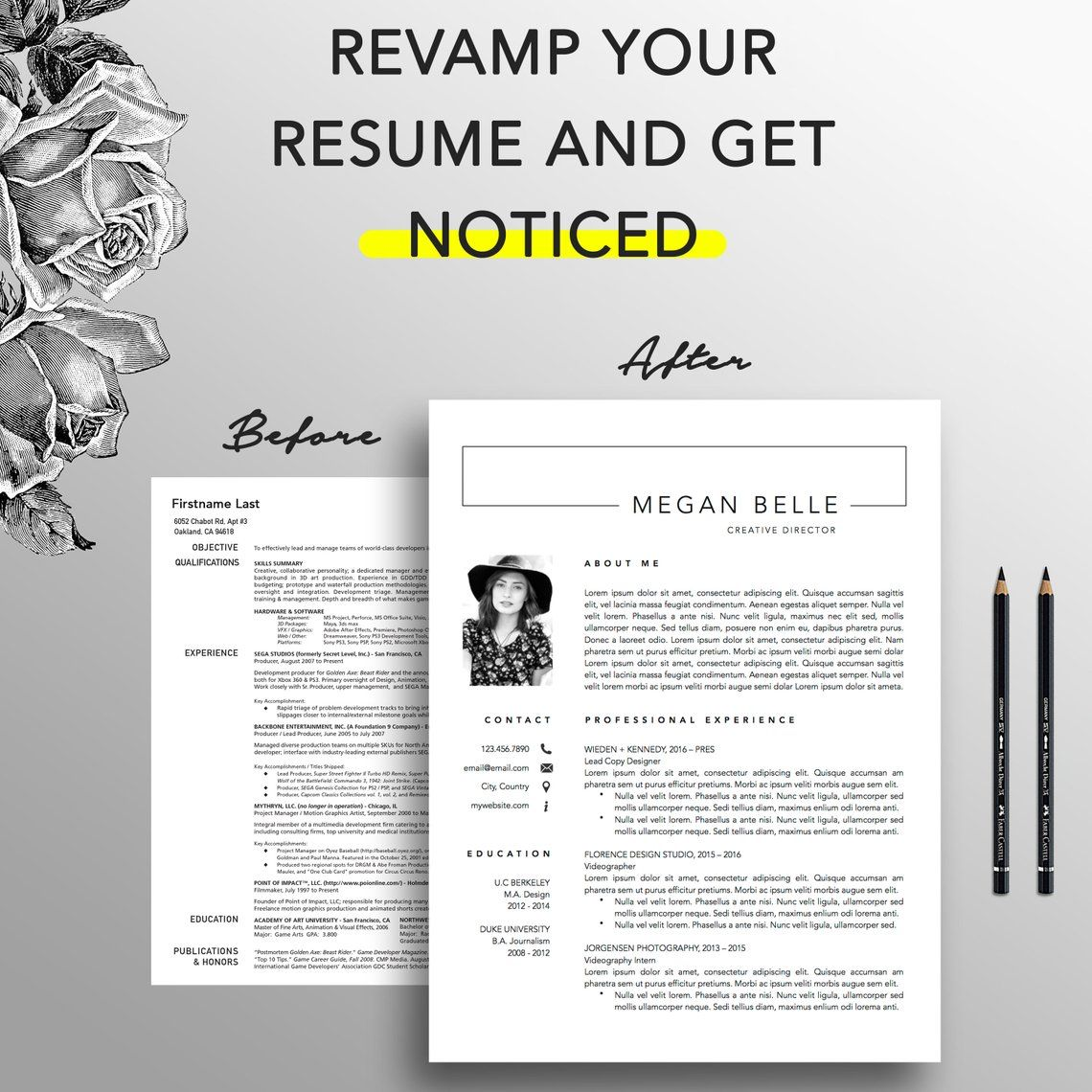 Modern resume template 12 page resume creative cover