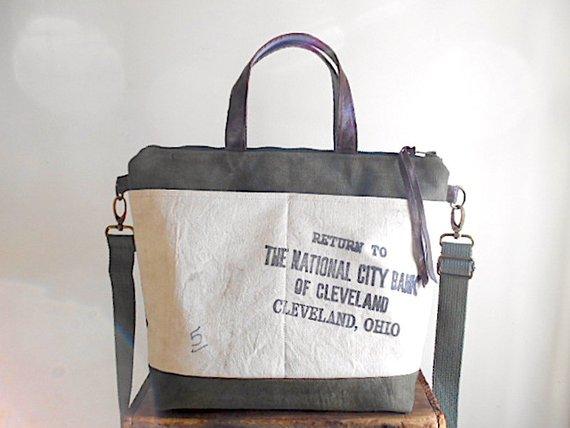 Military Canvas Vtg Bank Crossbody Tote Bag National City Bank Cleveland Ohio Eco Vintage Fabrics Crossbody Tote Crossbody Tote Bag Tote