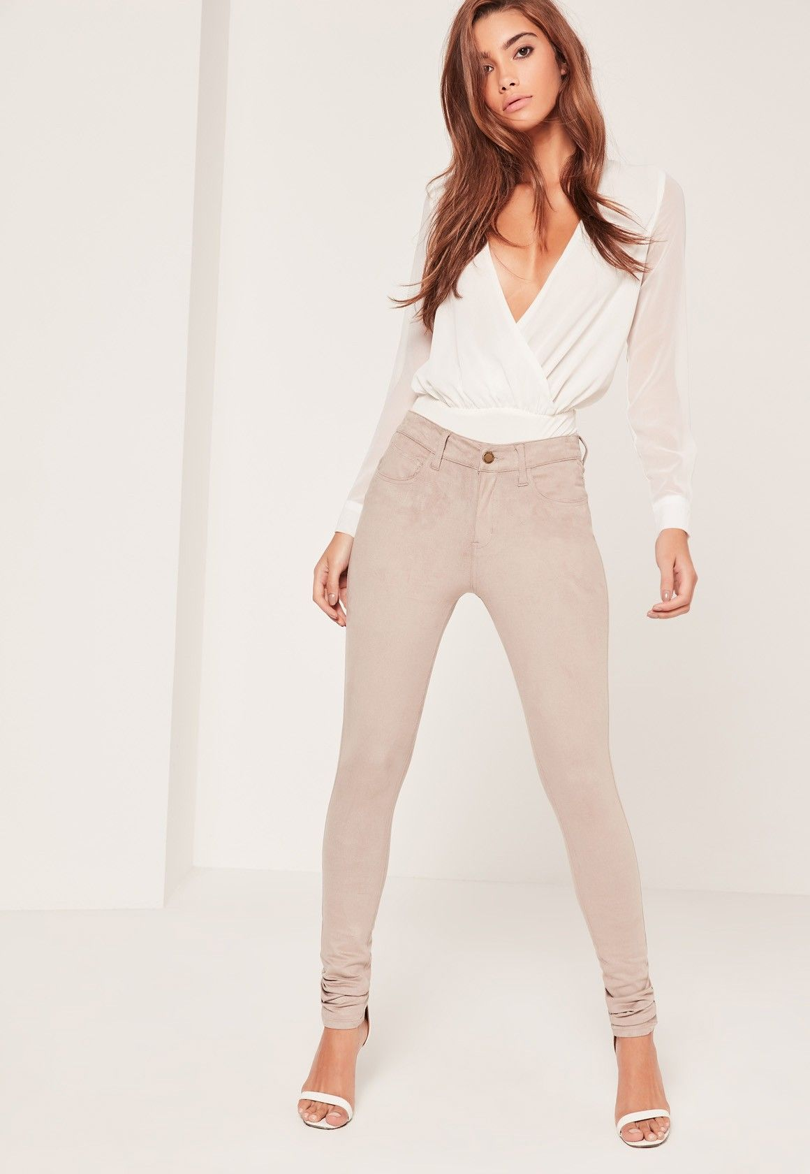 Lyst - Missguided Faux Suede High Waisted Skinny Trousers
