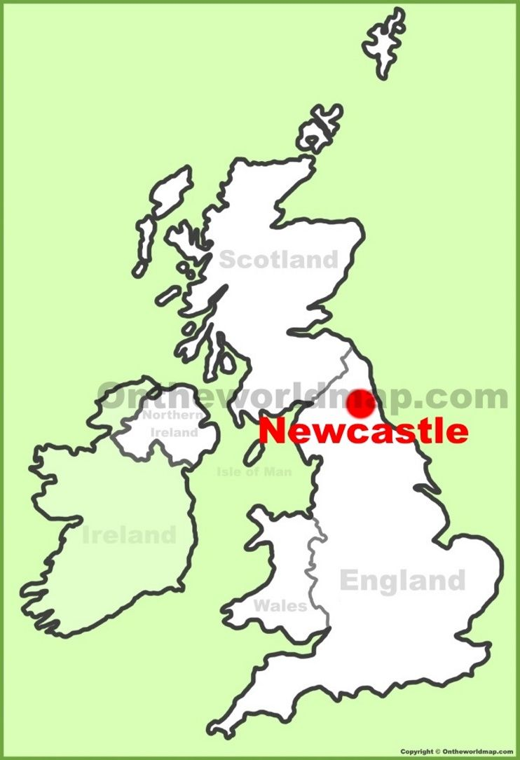 Newcastle location on the UK Map Maps Pinterest Newcastle and City