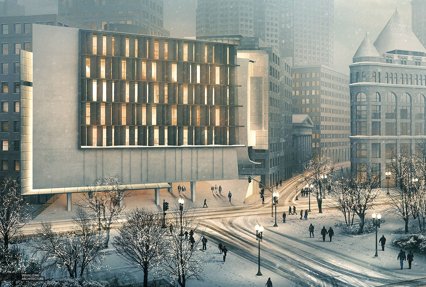 Modern Architecture Render visualizing architecture - post production snow scene | renderings
