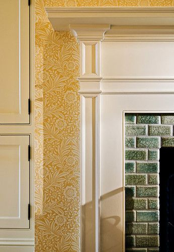 William Morris Marigold Wallpaper In Cream On Gold Yellow Fireplace With Green Crackle Subway Til William Morris Wallpaper Morris Wallpapers William Morris
