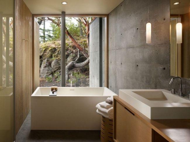 bad ohne fliesen sichtbeton wand holz badmöbel badewanne | home in ...