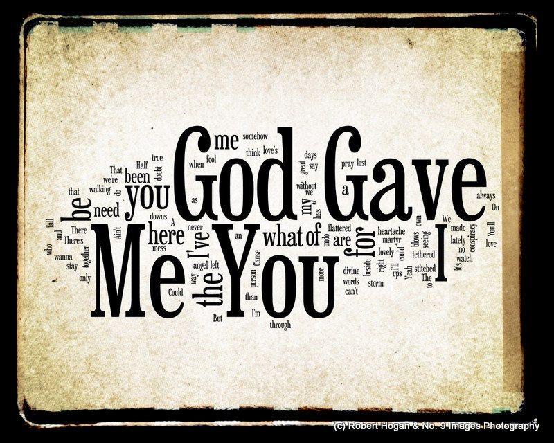 God Gave Me You Lyrics - Blake Shelton Word Art - Word Cloud Art ...