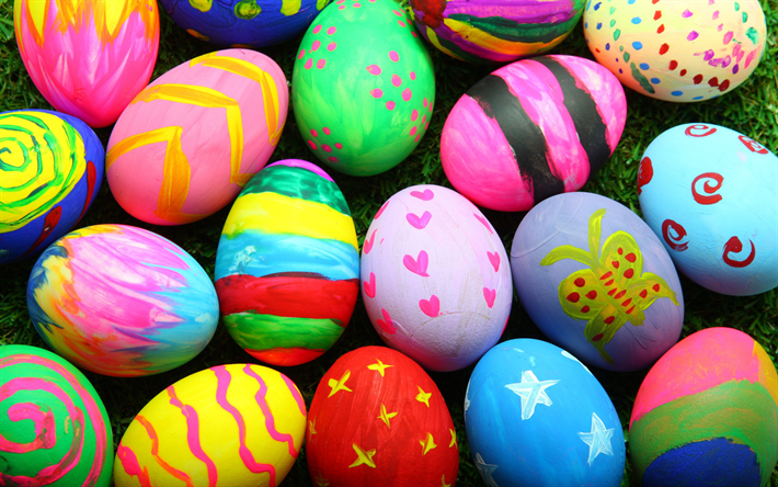 Download Wallpapers Happy Eggs 4k Spring Easter Colorful Decoration