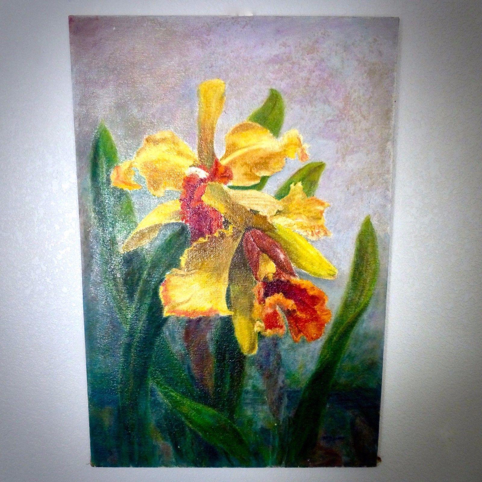 Art original ruth jones oil on canvas painting rare orchid