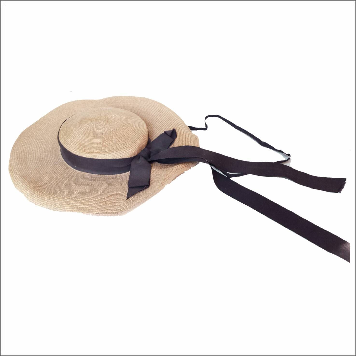 3db49bd129 Ladies 1930s Romantic Vintage Wide Brim Panama Boater Soft Straw Hat with  Long Navy Ribbon Bow