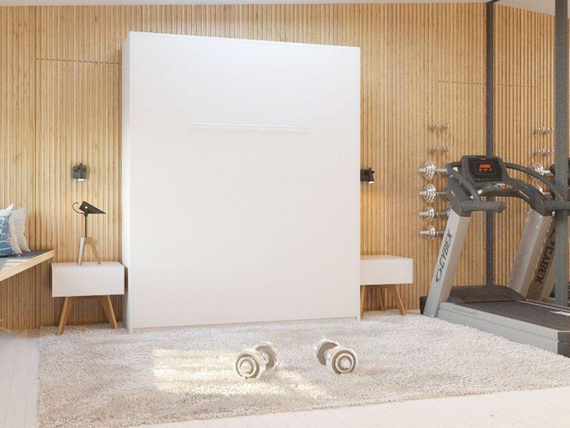 schrankbett 160x200 wei gasdruckfedern wall bed klappbett wandbett smartbett baumschuleweg ap. Black Bedroom Furniture Sets. Home Design Ideas