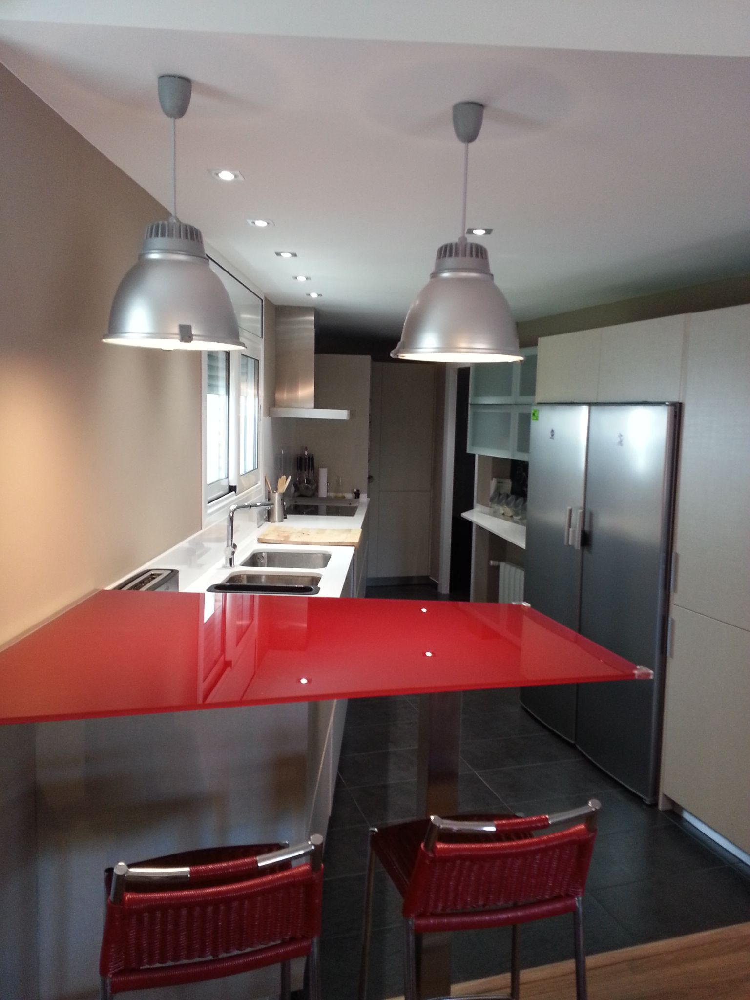 decoracion moderno cocina encimeras barras de cocina lamparas estanterias