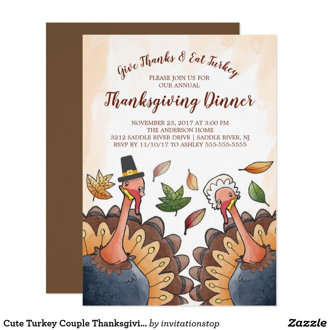 Cute Turkey Couple Thanksgiving Dinner Invitation Zazzle Com In 2020 Thanksgiving Dinner Invitation Thanksgiving Invitation Dinner Invitations
