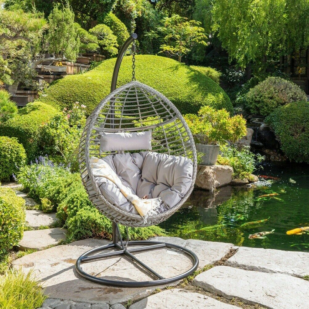 Outdoor Patio Garden Wicker Hanging Basket Swing Chair