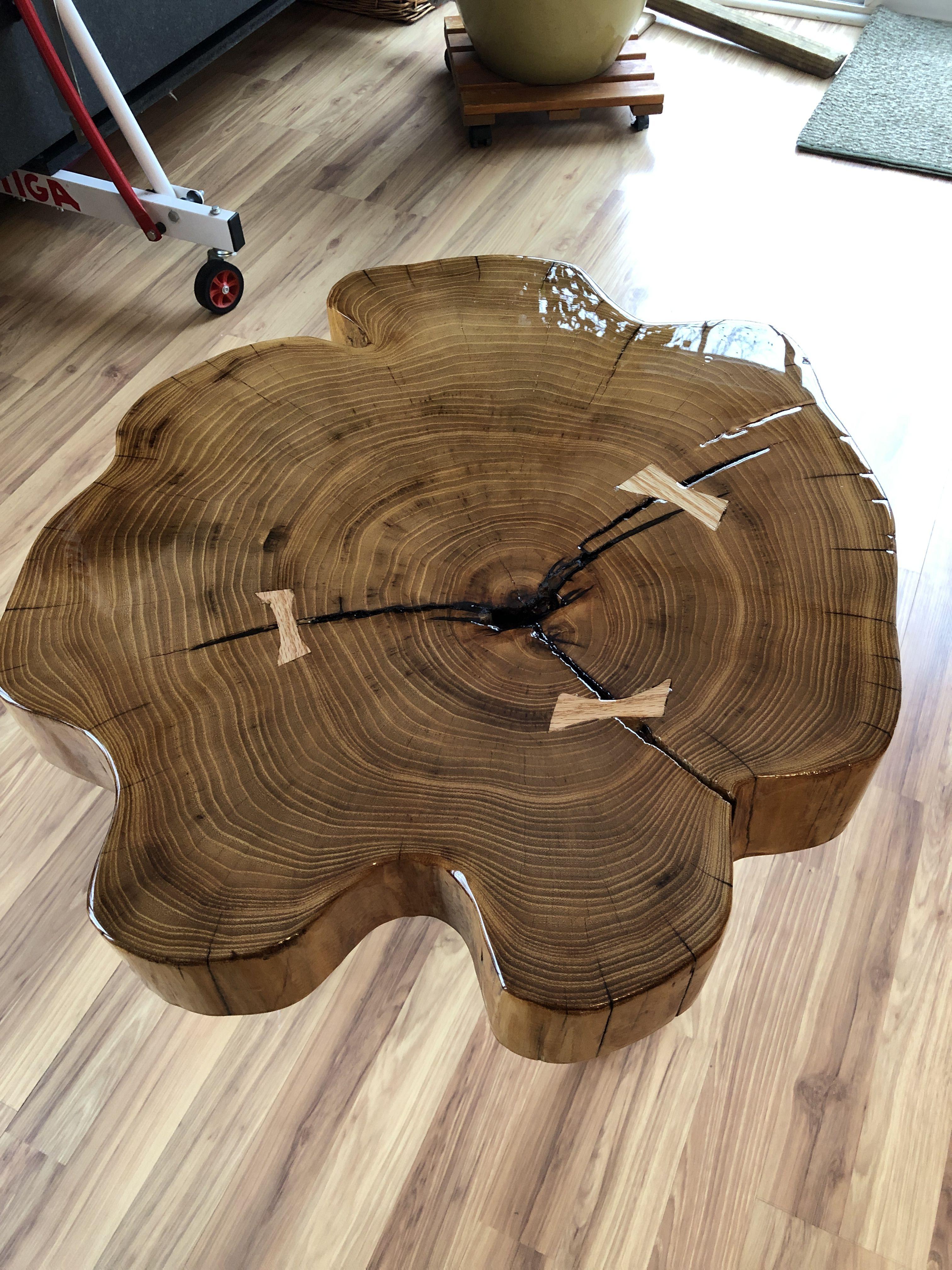 Honey Locust End Table Wood Creations Honey Locust Log Slab