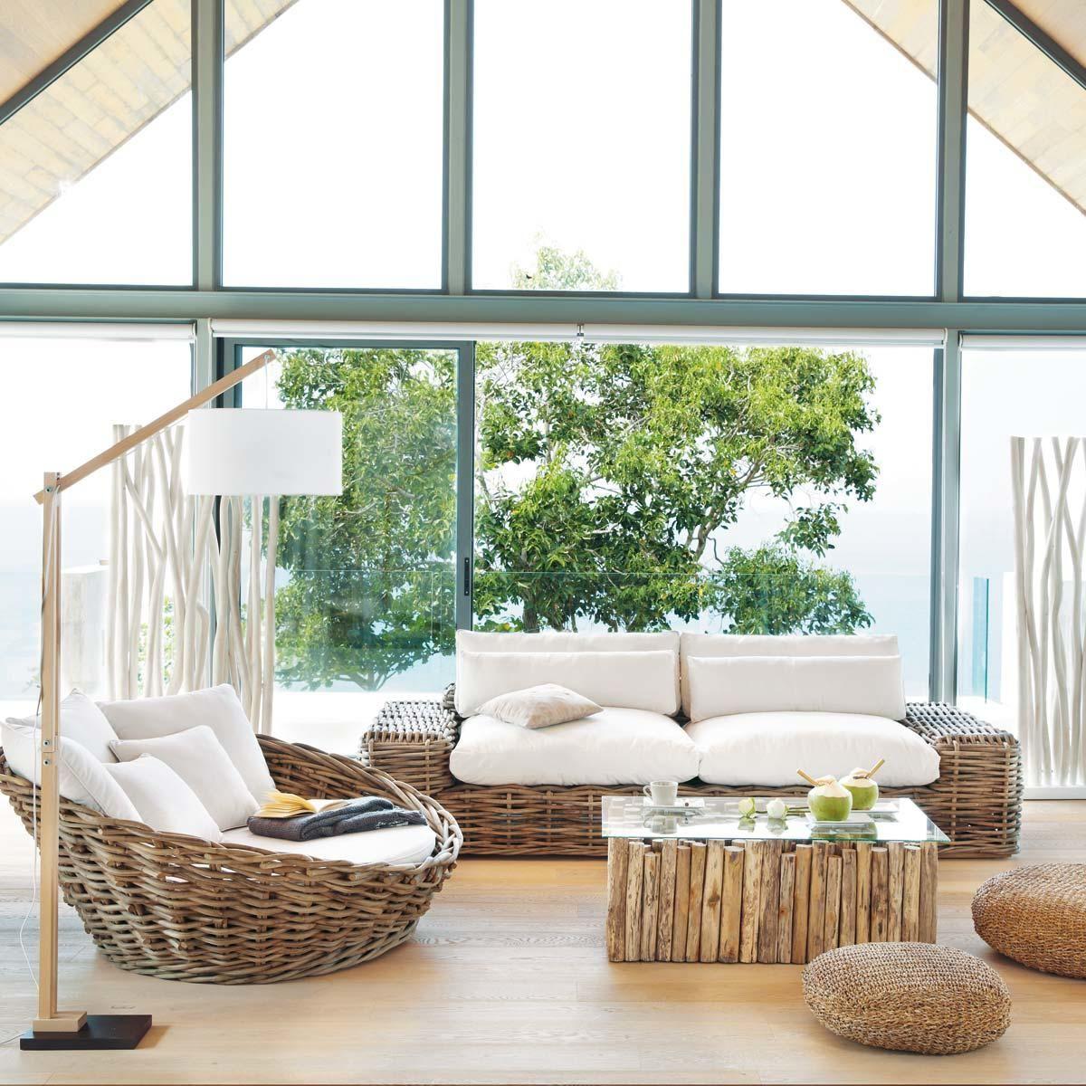 canap d 39 ext rieur rond 1 2 places rotin st tropez maisons du monde outdoor living garden. Black Bedroom Furniture Sets. Home Design Ideas