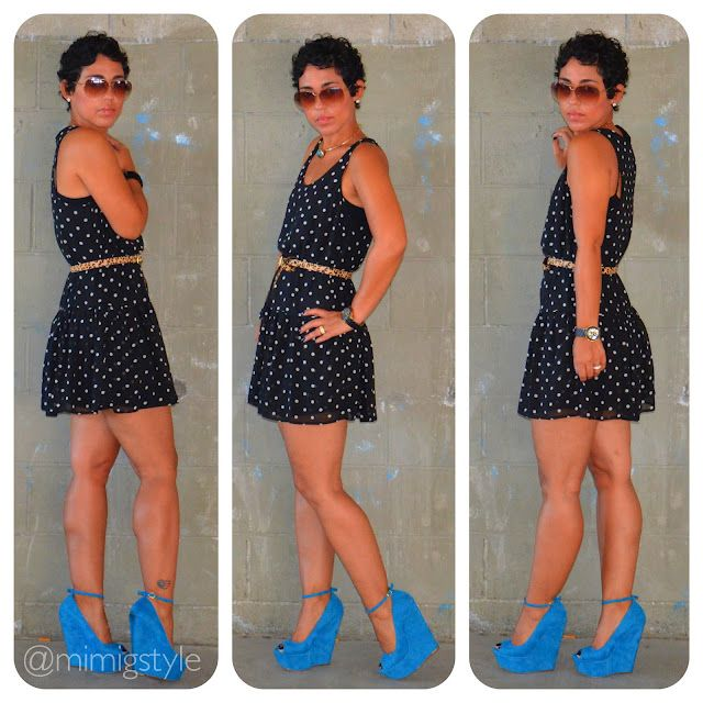 very cute! mimi g.: OOTD: Blue Suede Shoes + Dots