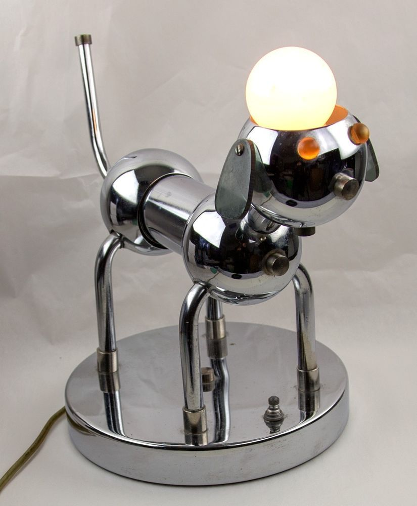 Chrome Dog Lamp Torino Italy Maker Of Robot Lamp Mid Century 1970 Dog Lamp Robot Lamp Lamp