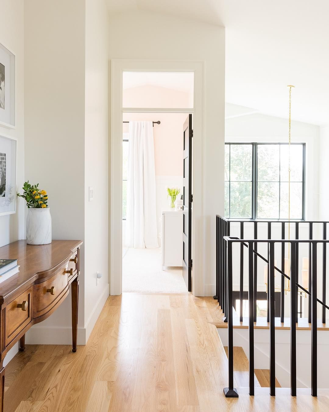 Home interior railings beautiful sun filled landing with railing and transom details