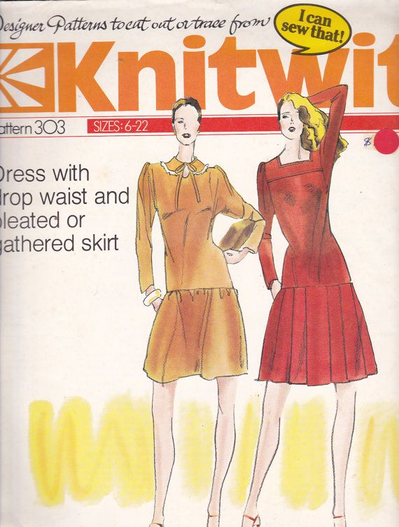 80\'s Sewing Pattern - Knitwit 303 Dress with drop waist and pleated ...