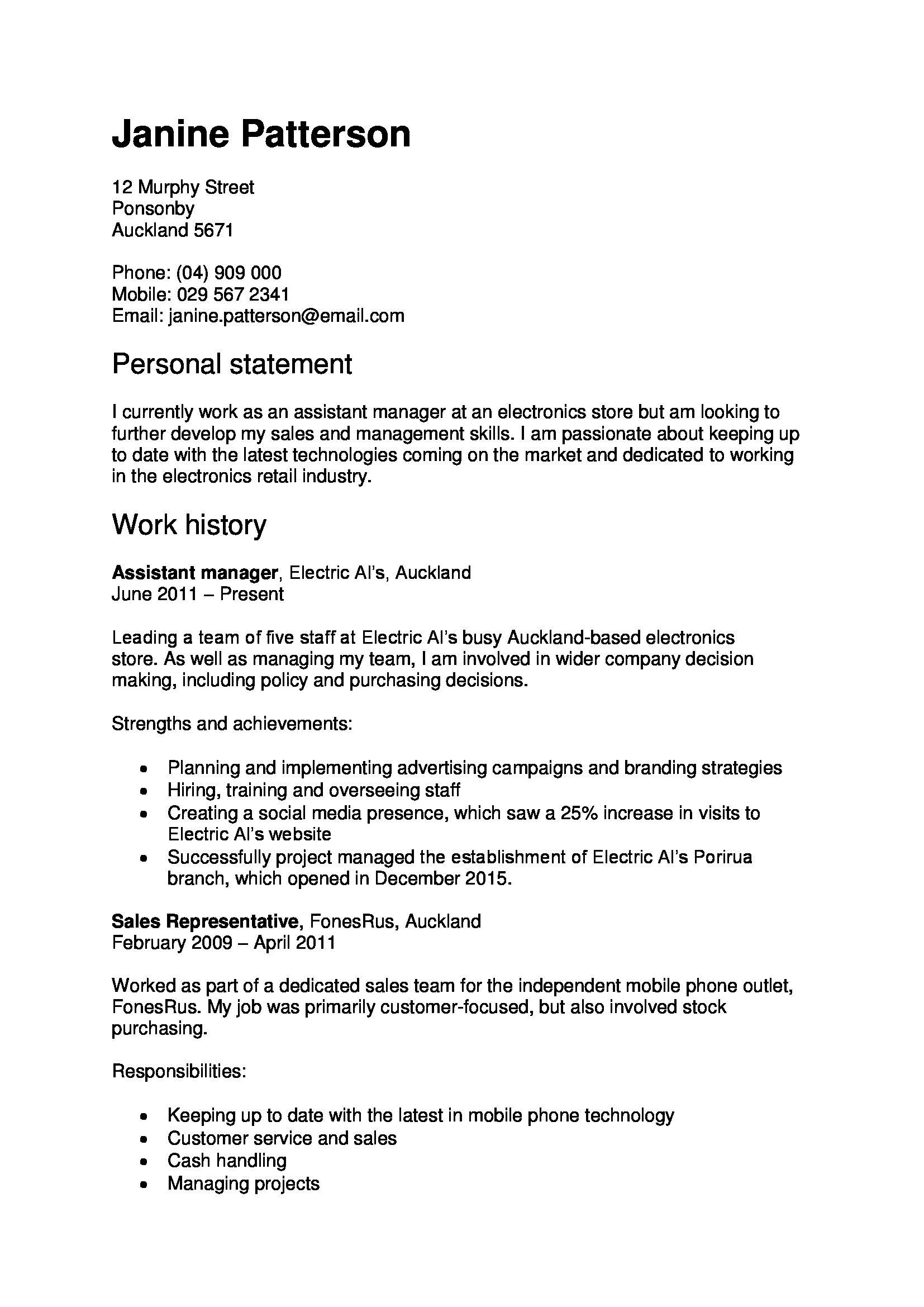 cv or resume in new zealand