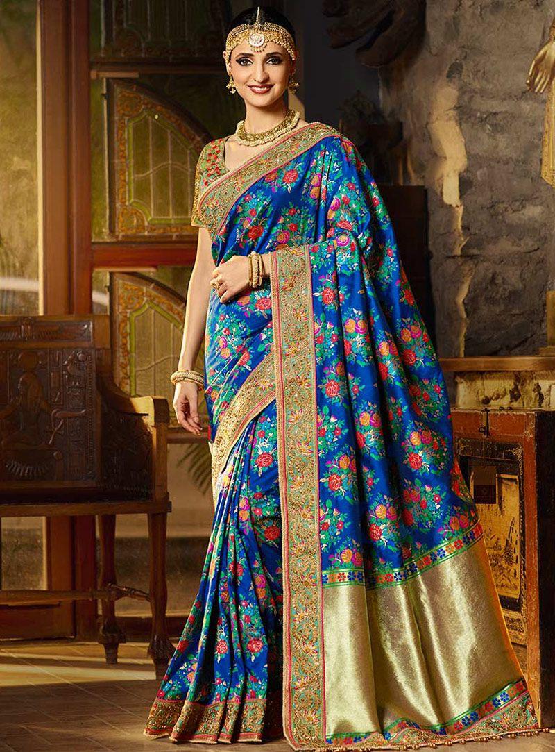 Indian Sari Saree Bollywood Designer Royal Blue Woven Banarasi Art Silk 23811