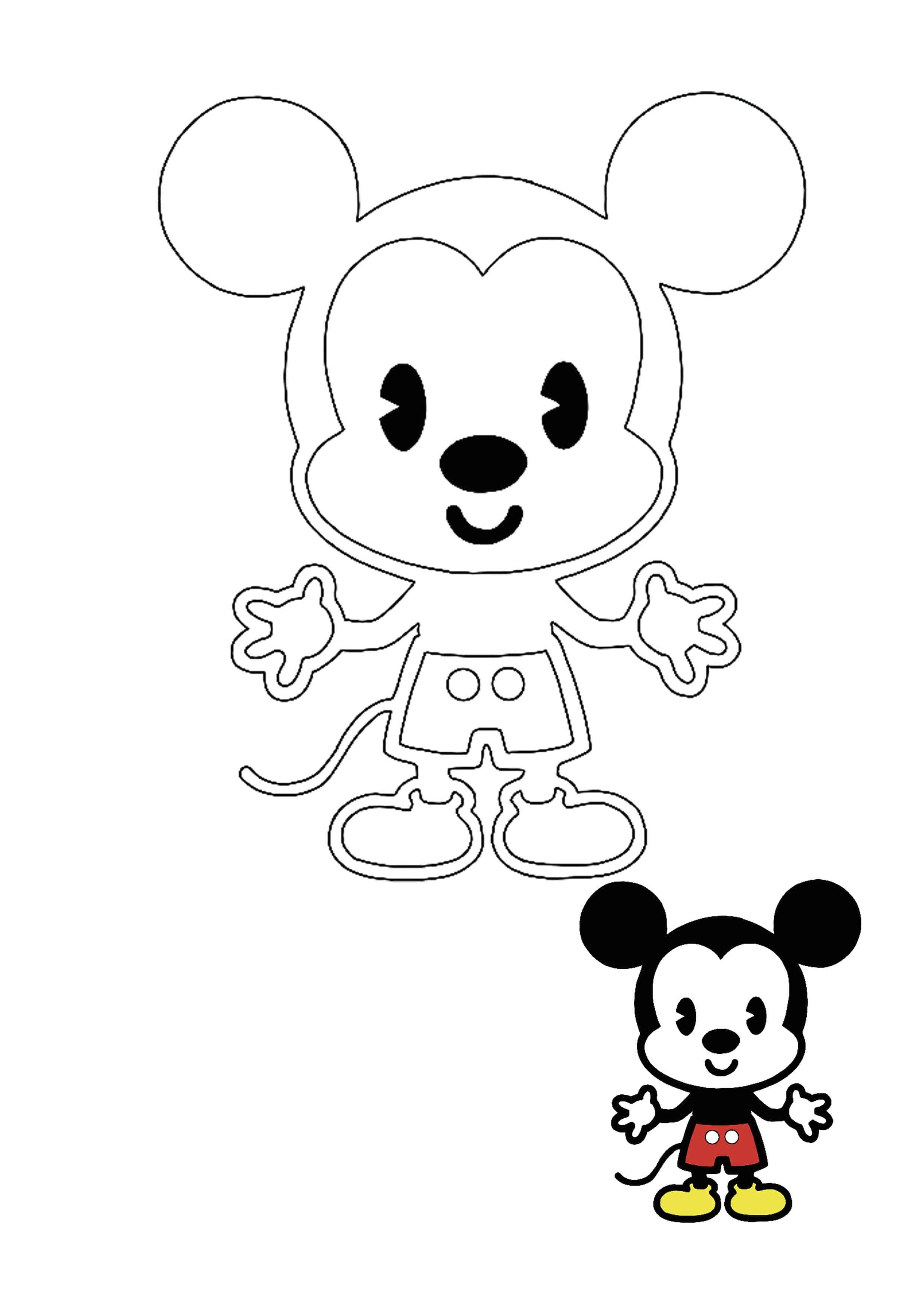 Kawaii Disney Mickey Mouse Coloring Page Disney Coloring Pages Mickey Mouse Coloring Pages Free Printable Coloring Sheets