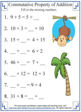 commutative property of addition  addition worksheets  commutative  commutative property of addition