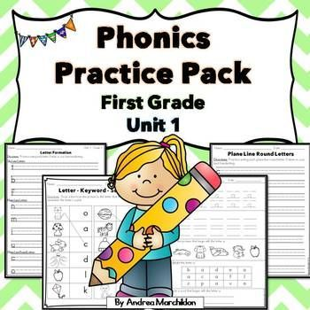 Phonics Practice Pack First Grade Unit 1 - Letter Formation plus ...